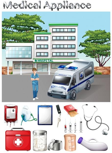 Medical appliance and hospital scene\ illustration