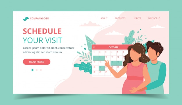 Medical appointment pregnancy. couple scheduling an appointment with calendar. Premium Vector