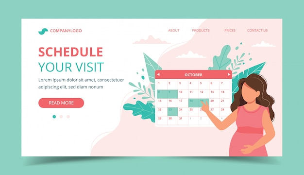 Medical appointment pregnancy. pregnant woman scheduling an appointment with calendar. Premium Vector