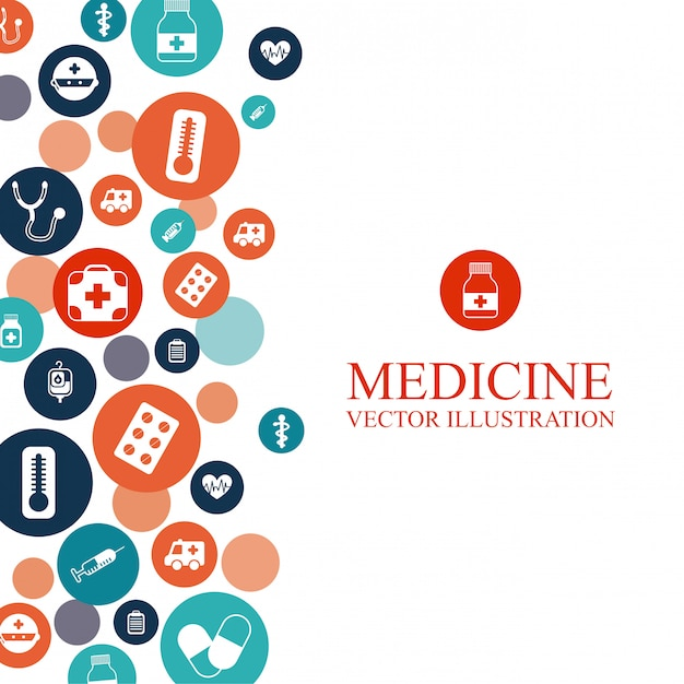 Medical background with elements graphic design Free Vector