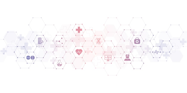 Medical background with flat icons and symbols Premium Vector