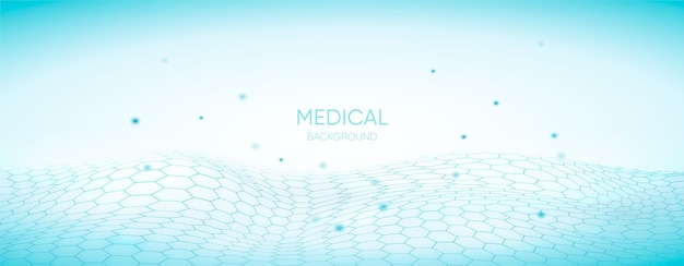 Medical background with hexagonal 3d grid Free Vector