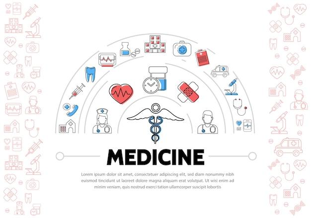 Медицинское образование с иконами Бесплатные векторы