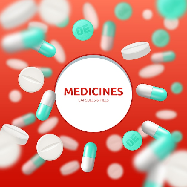 Medical background with white and green pills and capsules Free Vector