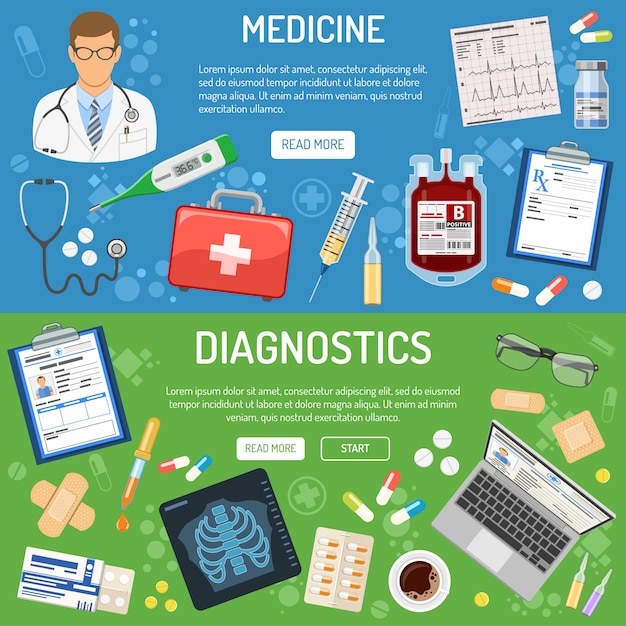 Medical banner and infographics Premium Vector