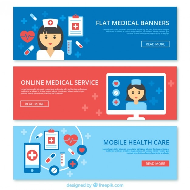 Medical banners collection Free Vector