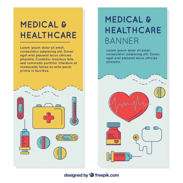 Medical banners with hand drawn\ accessories