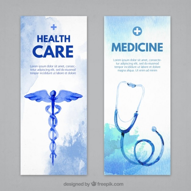Medical banners with stethoscope