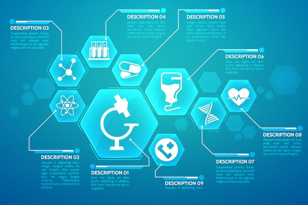 Medical blue poster with treatment and science symbols flat illustration Free Vector