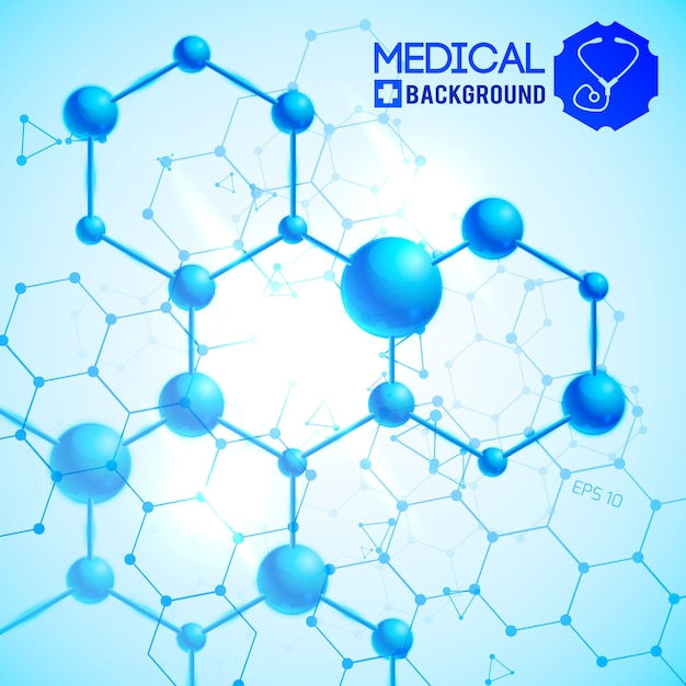 Medical blue with medicine and science symbols realistic illustration Free Vector