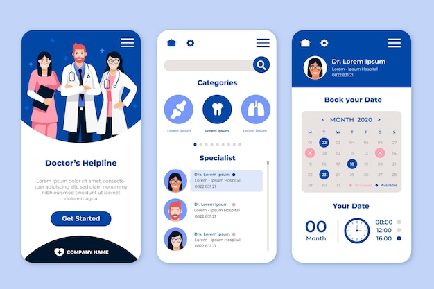 Medical booking app concept Free Vector