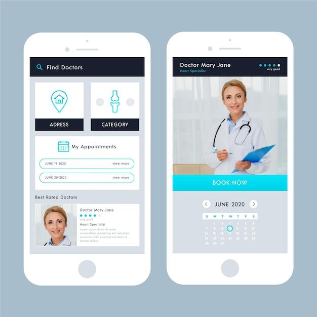 Интерфейс приложения медицинского бронирования с фотографией Бесплатные векторы
