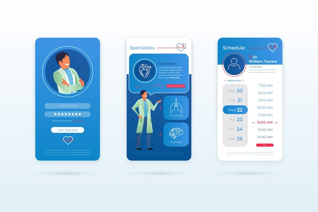 Medical booking app template Free Vector