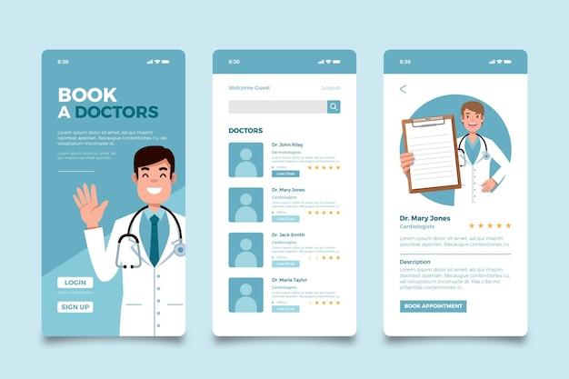 Приложение медицинского бронирования Бесплатные векторы