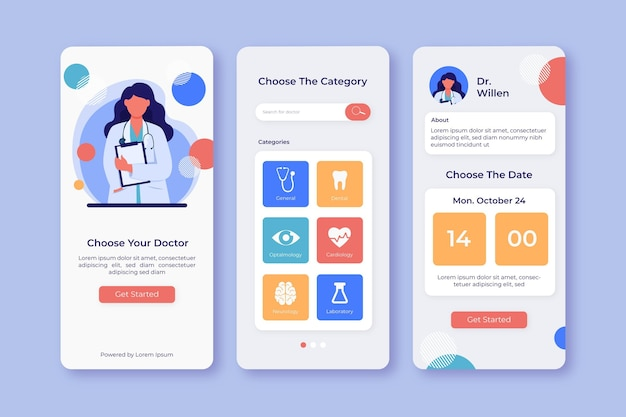 Medical booking application interface Free Vector
