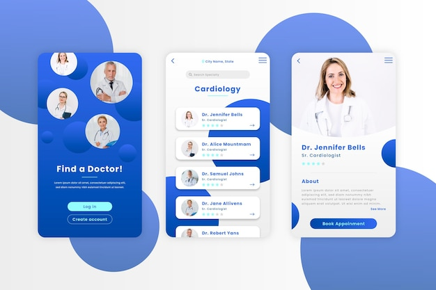 Medical booking application with photo Free Vector