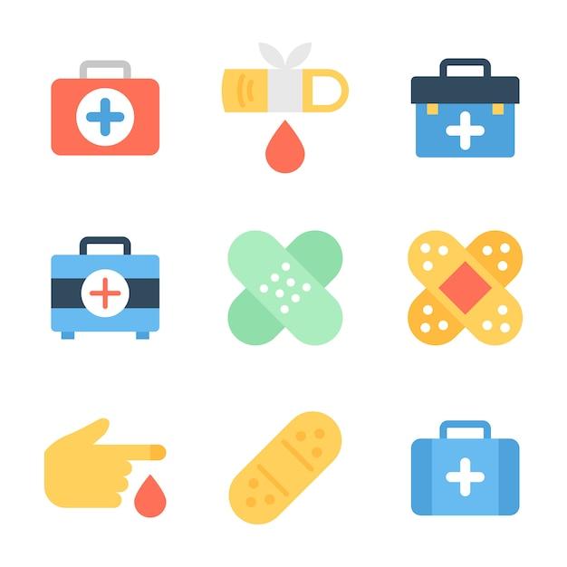 医療箱、包帯および傷のパック Premiumベクター