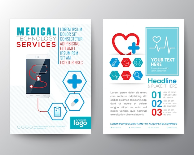 medical brochure template vector free download