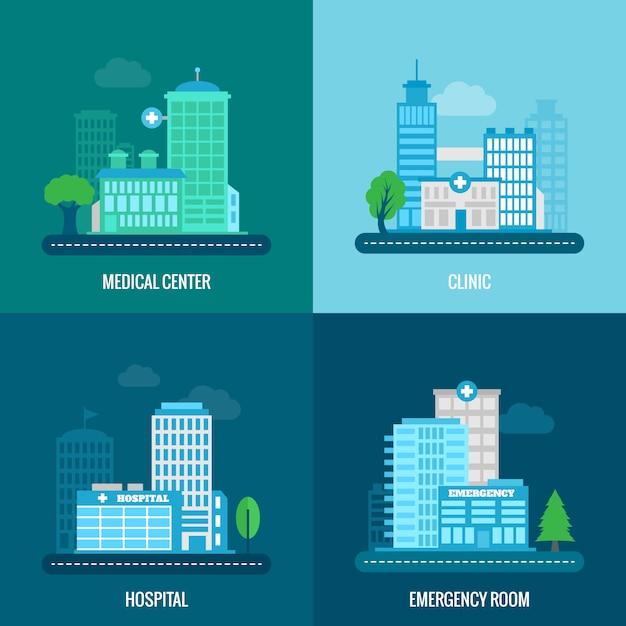 Medical building illustration flat Free Vector