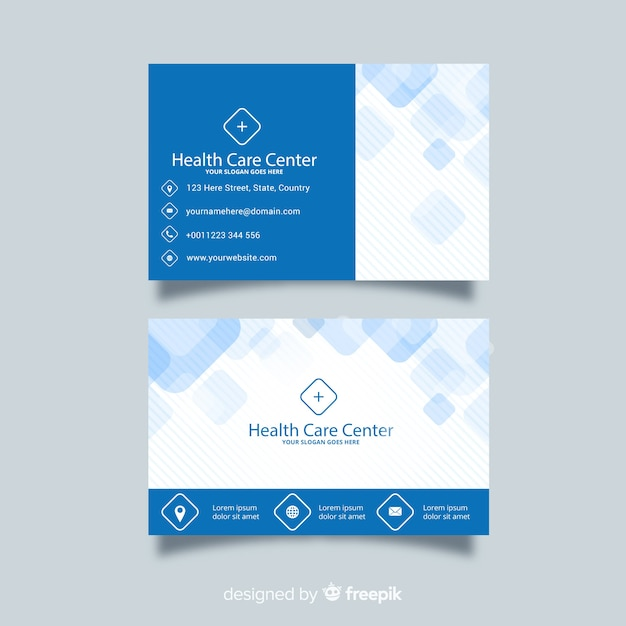 Medical business card concept in flat style Free Vector