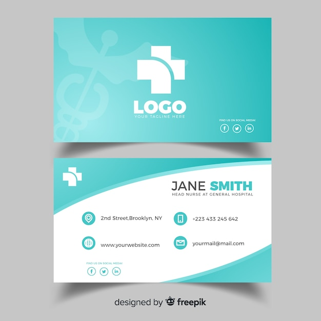 Medical business card design in flat style Free Vector