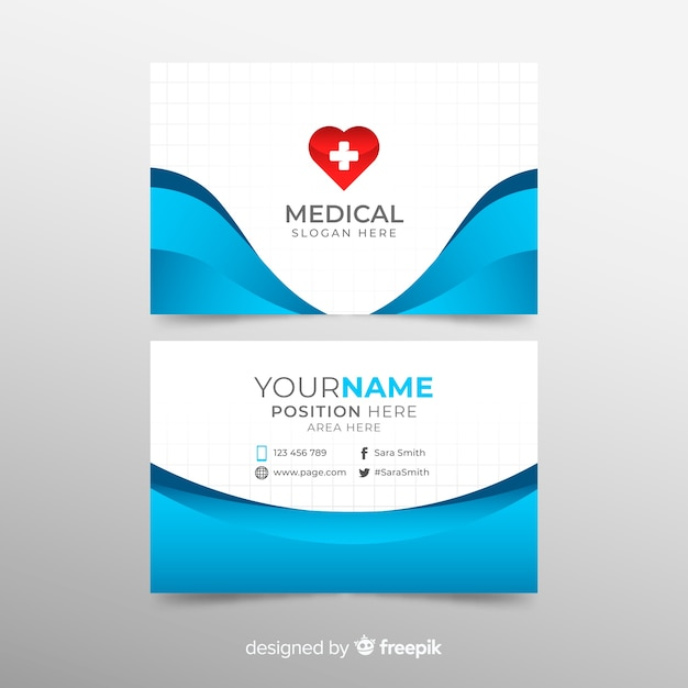 Medical Business Card Template With Modern Style Vector