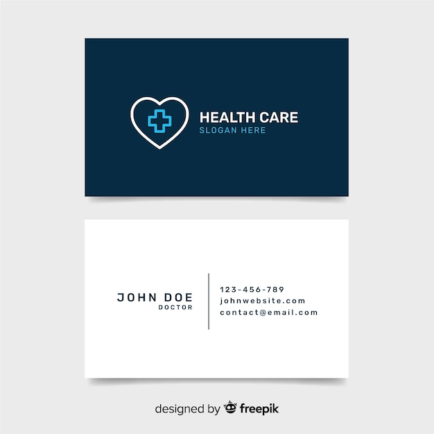 Medical business card template with modern style Free Vector