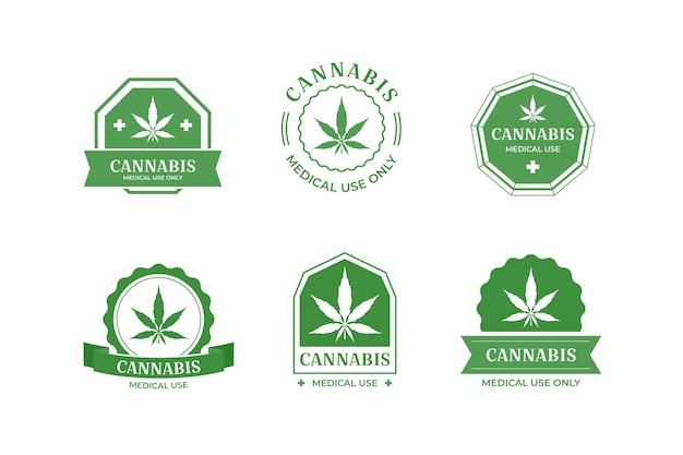 Collezione di badge di cannabis medica Vettore gratuito