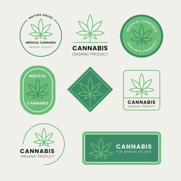 Medical cannabis badges set Free Vector