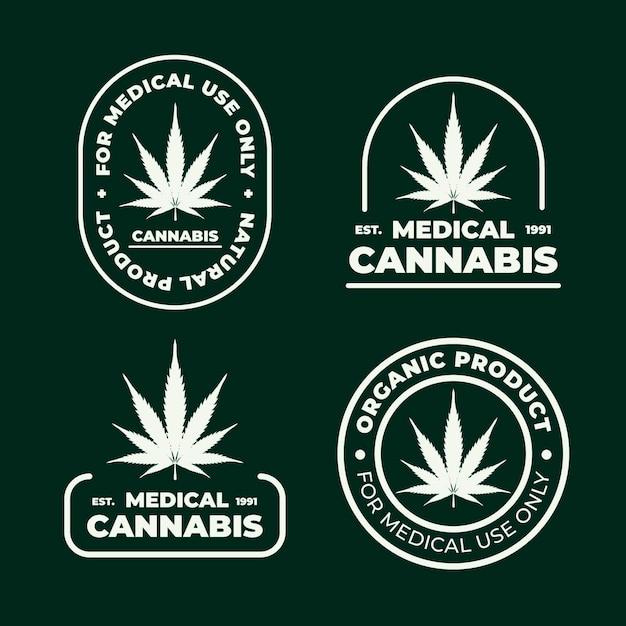 医療大麻バッジセット 無料ベクター