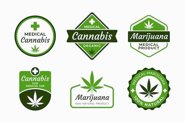 Medical cannabis badges Free Vector