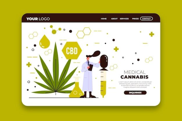 医療大麻イラストのランディングページ 無料ベクター