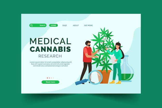 Medical cannabis landing page Free Vector