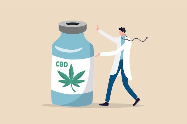 医療大麻、病気の概念を治すための医療用の合法的な抽出マリファナオイル Premiumベクター