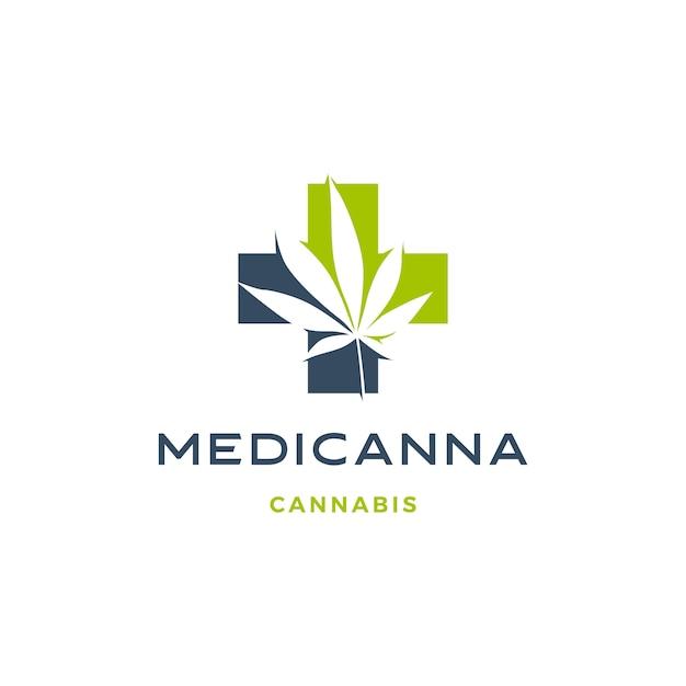 医療大麻ロゴ麻葉アイコンのダウンロード Premiumベクター