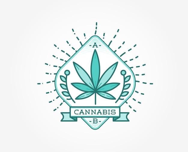 Знак медицинского каннабиса и марихуаны или шаблон этикетки в формате. Premium векторы