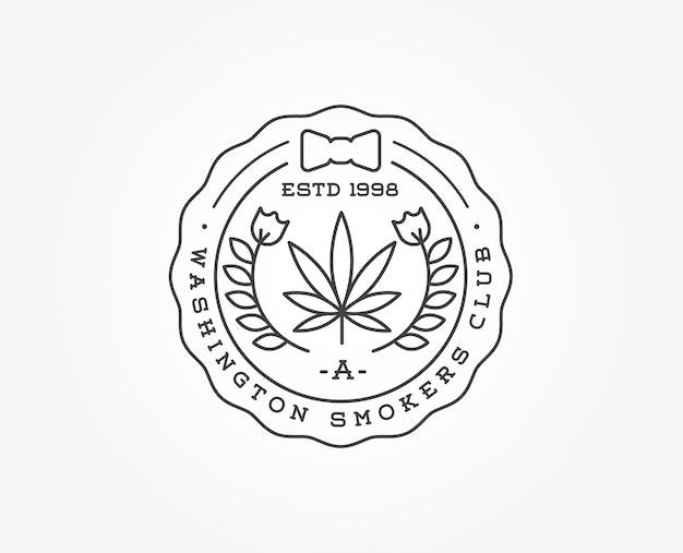 医療大麻マリファナ記号またはラベルテンプレート Premiumベクター