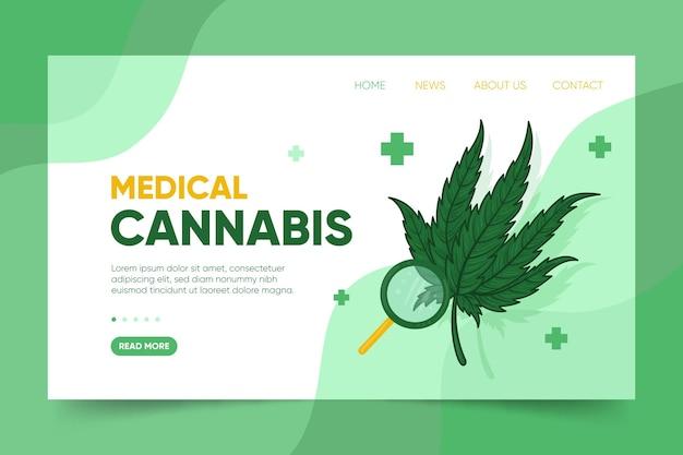 Cannabis medica con pagina di destinazione della lente di ingrandimento Vettore gratuito