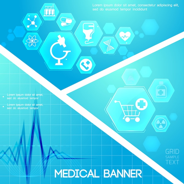 Medical care blue digital composition with heart rhythm and medicine icons in hexagons Free Vector