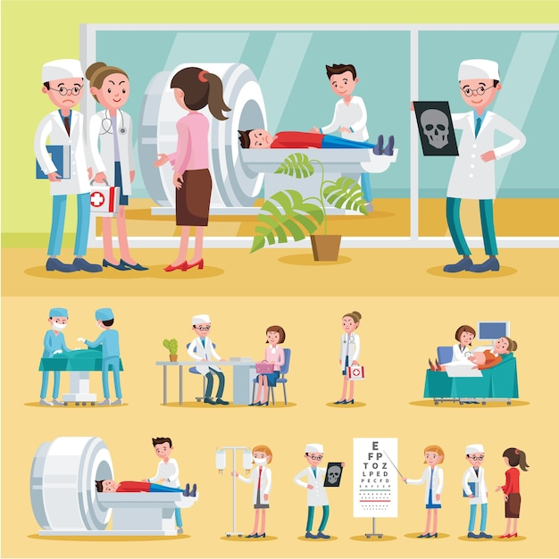 Medical care composition Free Vector