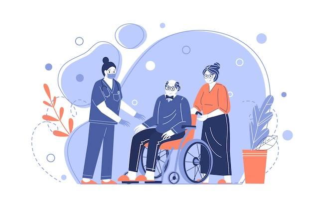 Medical care for the elderly. a nurse helps grandpa in a wheelchair. taking care of pensioners. vector illustration in a flat style Premium Vector