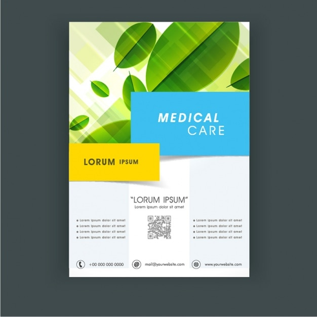 Medical Care Flyer Template With Leaves Vector | Premium Download