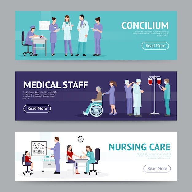 Medical care horizontal banners Free Vector