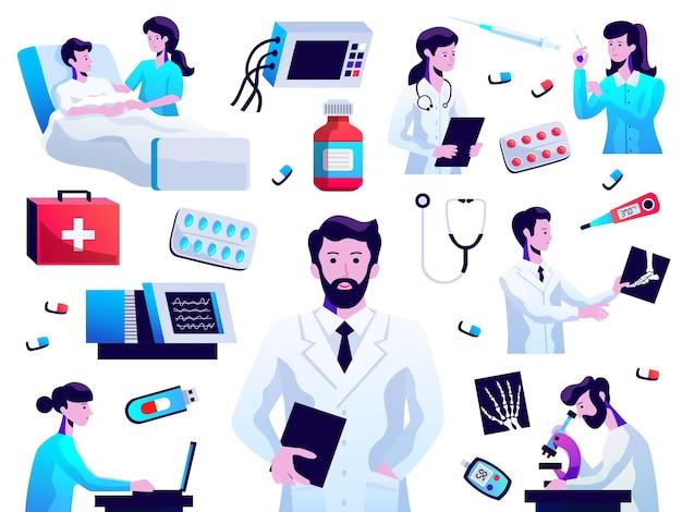 医師看護師患者ラボテスト薬の丸薬注射聴診器分離ベクトルイラストと医療アイコンコレクション Premiumベクター