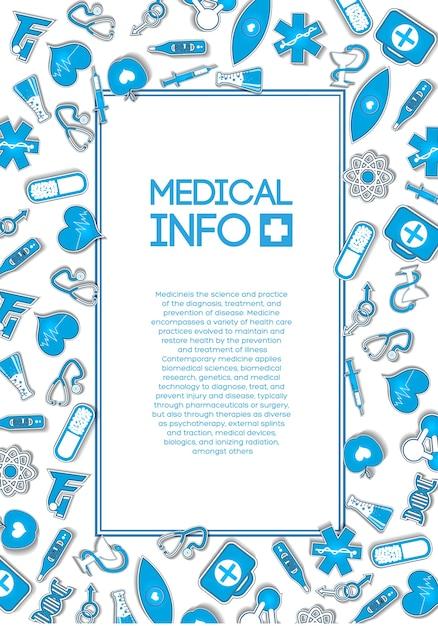 Modello di cure mediche con testo in cornice e icone di carta blu ed elementi sulla luce Vettore gratuito