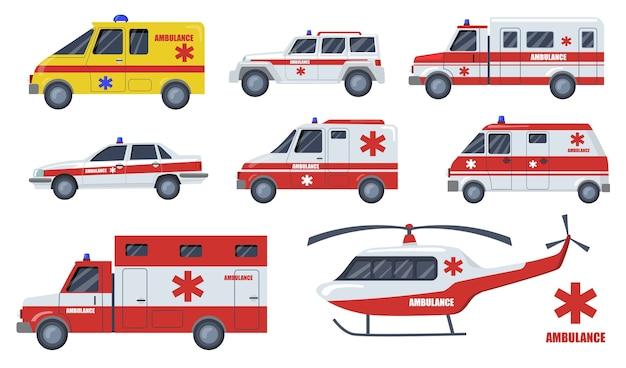 Set di articoli piatti per il trasporto di cure mediche. cartoon ambulanza auto e veicoli design isolato illustrazione vettoriale raccolta. emergenza, trasporto, servizio di soccorso e concetto di salvataggio veloce Vettore gratuito