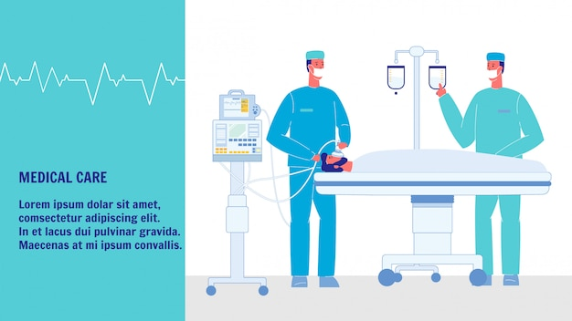 Medical care vector web banner with text space Premium Vector