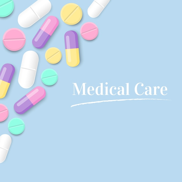 Medical care with colorful pills vector background Premium Vector