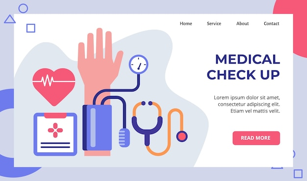 Medical check up heart tension meter stethoscope campaign Premium Vector