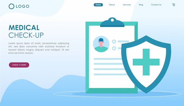 Medical check up landing page in flat style Premium Vector